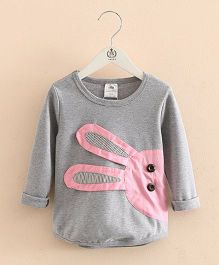 Mauve Collection Cute T-Shirt With Rabbit Patchwork - Grey
