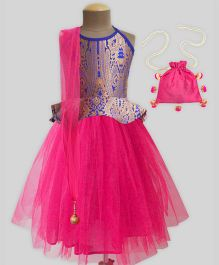 A.T.U.N Brocade Tutu Lehenga Set With Free Potli - Fuchsia Pink & Royal Blue