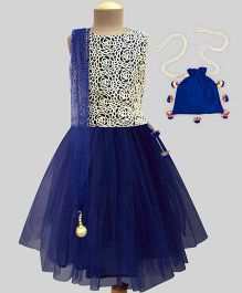 A.T.U.N Lace Embroidered Lehenga Set With Free Potli - Navy & Cream