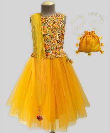 A.T.U.N Paisley Embroidered Lehenga Set With Free Potli - Yellow