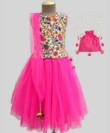A.T.U.N Spring Embroidered Lehenga Set With Free Potli - Fuchsia