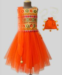 A.T.U.N Traditional Embroidered Lehenga Set With Free Potli - Orange