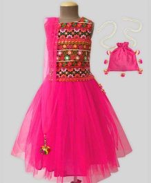 A.T.U.N Traditional Embroidered Lehenga Set With Free Potli - Fuchsia