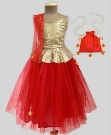 A.T.U.N Sequins Tutu Lehenga Set With Free Potli - Red & Gold