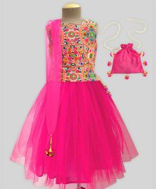 A.T.U.N Rangoli Embroidered Tutu Lehenga Set With Potli - Fuchsia