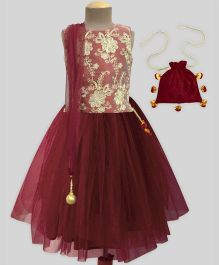 A.T.U.N EmbroideredTutu Lehenga Set With Free Potli - Maroon & Gold