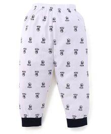 Ollypop Full Length Leggings Allover Print - White & Navy
