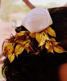 Pretty Ponytails Fiery Rose Clip - White & Gold