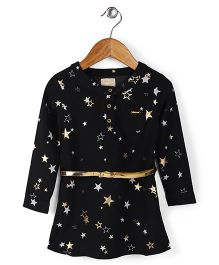 Vitamins Full Sleeves Frock With Belt Star Print - Black