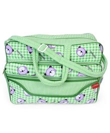 Sapphire Diaper Bag With Changing Mat Bear Print - Green