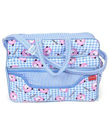 Sapphire Diaper Bag With Changing Mat Bear Print - Blue