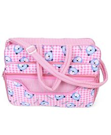 Sapphire Diaper Bag With Changing Mat Bear Print - Pink