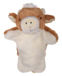 Twisha Hand Puppet Cow Cream And Brown - 25.4 cm