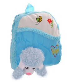 Twisha Nursery Bag With Dog Applique Blue - 12 Inch