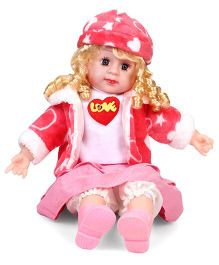 Smiles Creation Doll In Jacket Love Print Pink And White - 54 cm