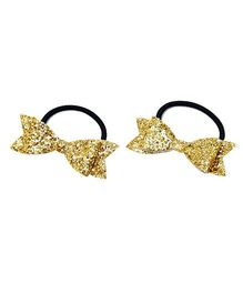 D'Chica Two Little Bow Rubber Band - Golden