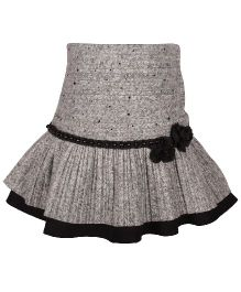 Cutecumber Skirt Floral And Pearl Detail - Grey