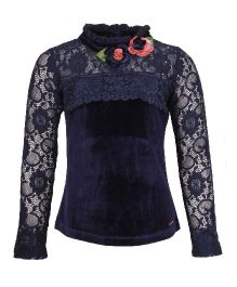 Cutecumber Full Sleeves Party Wear Top With Floral Applique - Blue