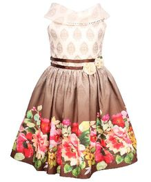 Cutecumber Sleeveless Party Wear Frock Floral Print - White Brown