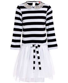 The Cranberry Club Full Sleeves Striped Dress - White & Black