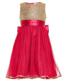 The Cranberry Club Sequined Yoke With Big Bow Tutu Dress - Pink