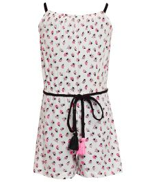 The Cranberry Club Bug Print With Tassel Belt Jumpsuit - White