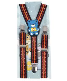 Kid O Nation Suspenders With Teddy Patch - Red