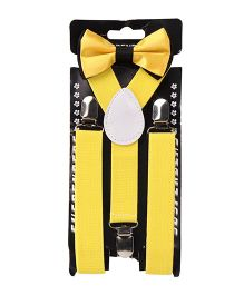 Kid O Nation Plain Suspenders With Bow Tie - Yellow