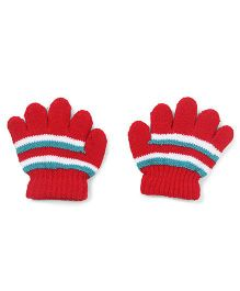 Babyhug Stripes Design Gloves - Red White Blue