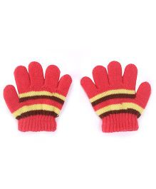Babyhug Stripes Design Gloves - Red