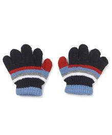 Babyhug Stripes Design Gloves - Black Blue Red