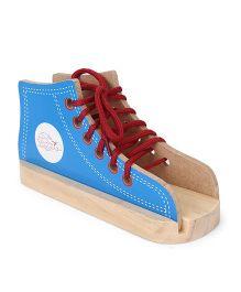 Little Genius Wooden Lacing Shoe - Blue & Red
