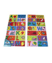 Little Genius Wooden Alphabet Match Puzzle Set Of Two Trays