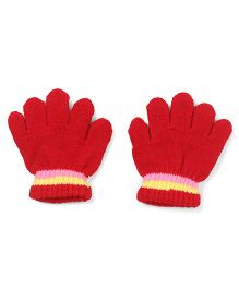 Babyhug Solid Color And Stripes Design Gloves - Red
