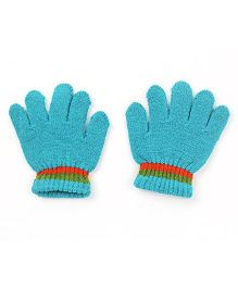 Babyhug Gloves Solid Color And Stripes Print - Blue