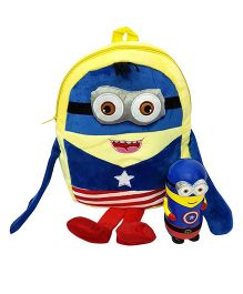Thought Counts Super Combo Of Cartoon Character Bag & Hot & Cold Flask - Blue & Yellow