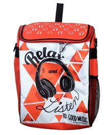 Thought Counts Music Print Backpack - Black & Red