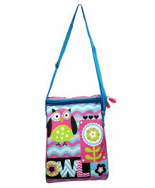 Thought Counts Owl Print Sling Bag - Blue & Multicolour