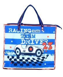 Thought Counts Carry Me Racing Team Print Structured Bag - Sky Blue