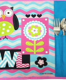 Thought Counts Owl Print Table Mat - Pink
