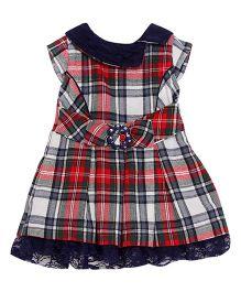 FS Mini Klub Short Sleeves Plaid Dress - Red