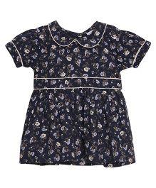 FS Mini Klub Half Sleeves Floral Dress - Navy Blue