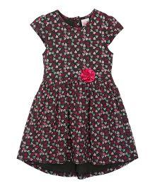 FS Mini Klub Girls Cap Sleeves Printed Dress - Pink And Black