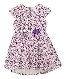 FS Mini Klub Girls Cap Sleeves Printed Dress - White And Purple