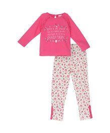 FS Mini Klub Top And Leggings Set Floral Print - Pink