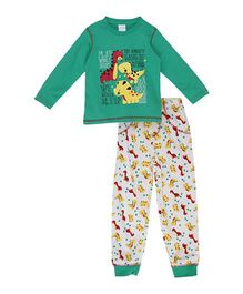 FS Mini Klub Full Sleeves T-Shirt And Pajama Dinosaur Print - Green And White