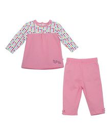 FS Mini Klub Full Sleeves Top And Leggings Set Floral Print - Pink And White