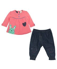 FS Mini Klub Long Sleeves Top And Pant Set Hear Design - Peach And Black