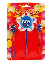 Partymanao 2 Balloon And 1 Star Shaped Candle  - Blue