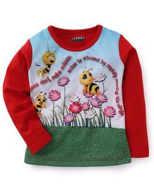 E-Todzz Full Sleeves T-Shirt Honey Bee Print - Red